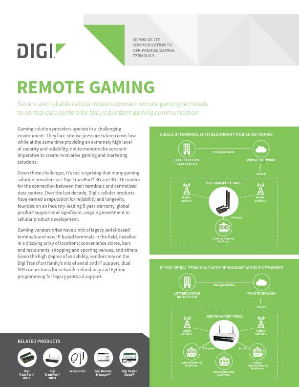 3G and 4G LTE Communication to Off-premise Gaming Terminals