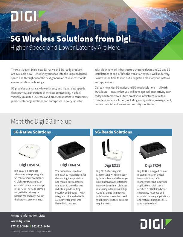 5G Wireless Solutions from Digi cover page