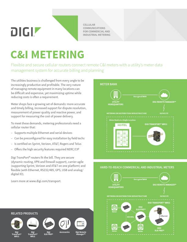 Cellular Communications for Commercial and Industrial Metering