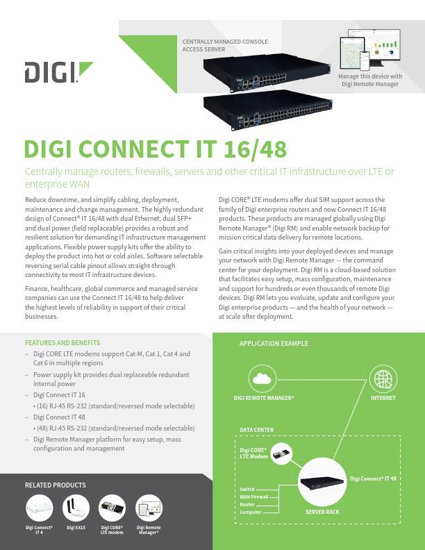 Digi Connect IT 16/48 Datasheet