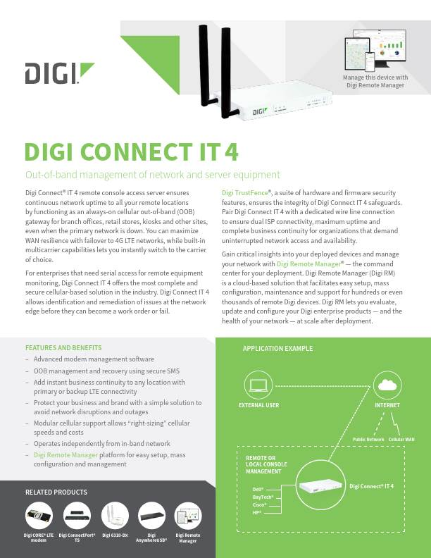 Digi Connect IT 4 Datasheet cover page