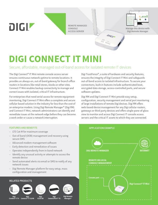 Digi Connect IT Mini datasheet