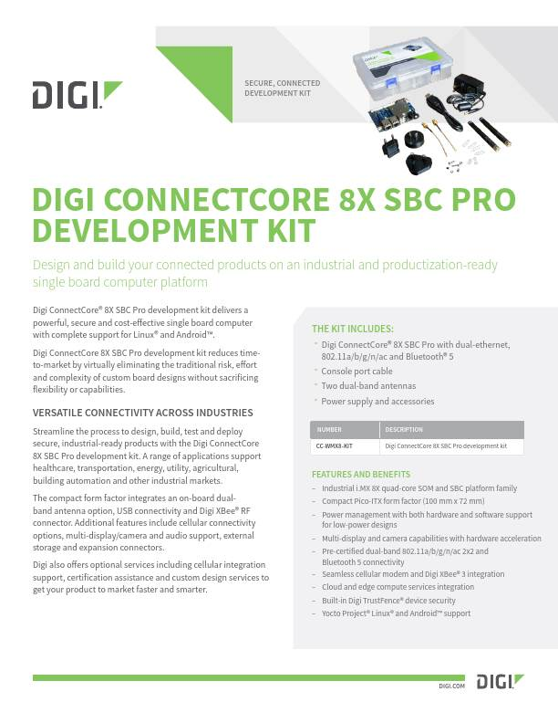 Digi ConnectCore 8X SBC Pro Development Kit Datasheet