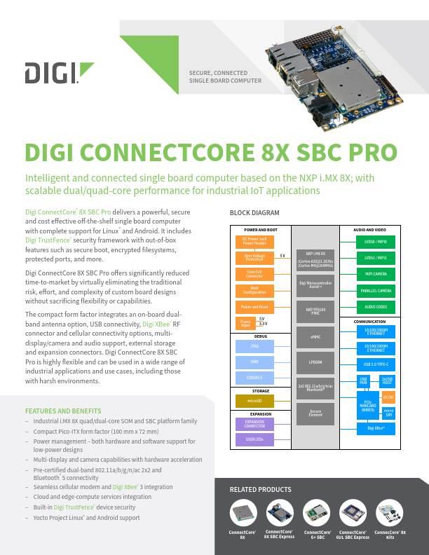 Digi ConnectCore 8X SBC Pro Datasheet