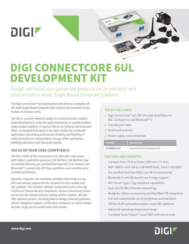 Digi ConnectCore 6UL Development Kit Datasheet