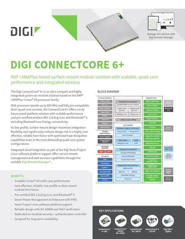 Digi ConnectCore 6+ Datasheet