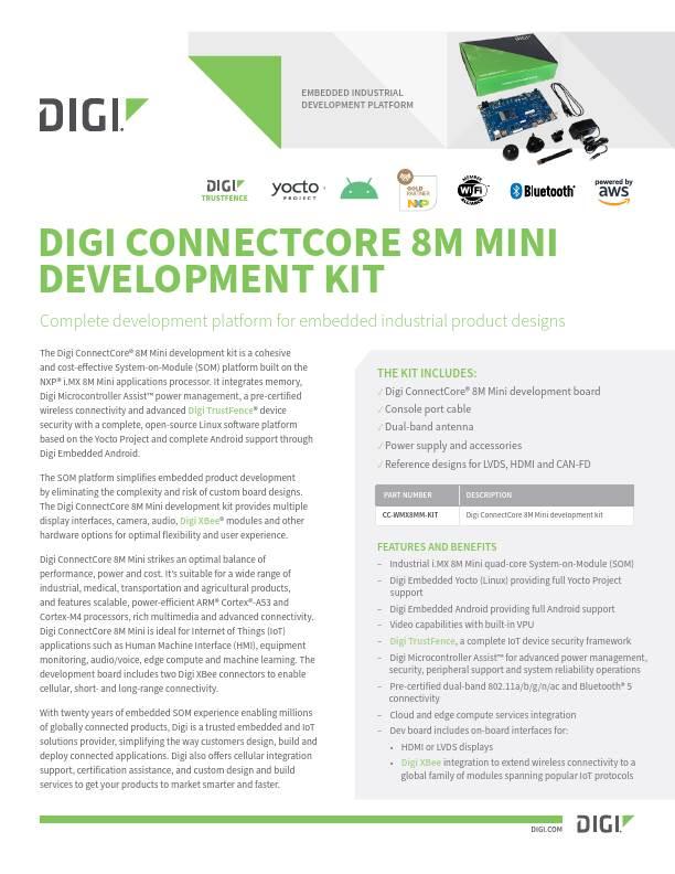 Digi ConnectCore 8M Mini Development Kit Datasheet