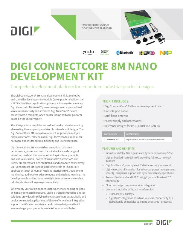 Digi ConnectCore 8M Nano Development Kit Datasheet