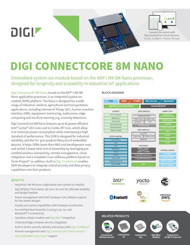 Digi ConnectCore 8M Nano Datasheet