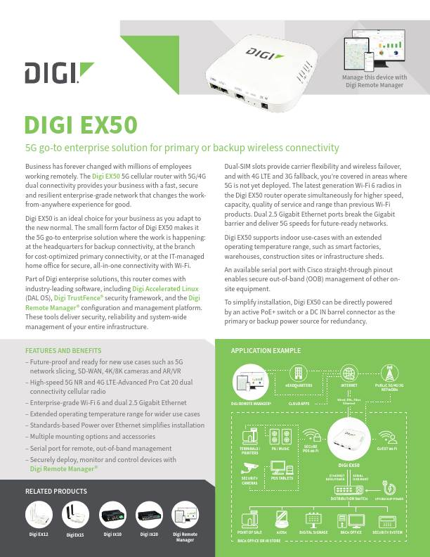 Digi EX50 5G Cellular Router Datasheet