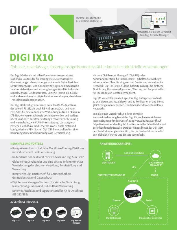 Digi IX10 Datenblatt (Deutsch)