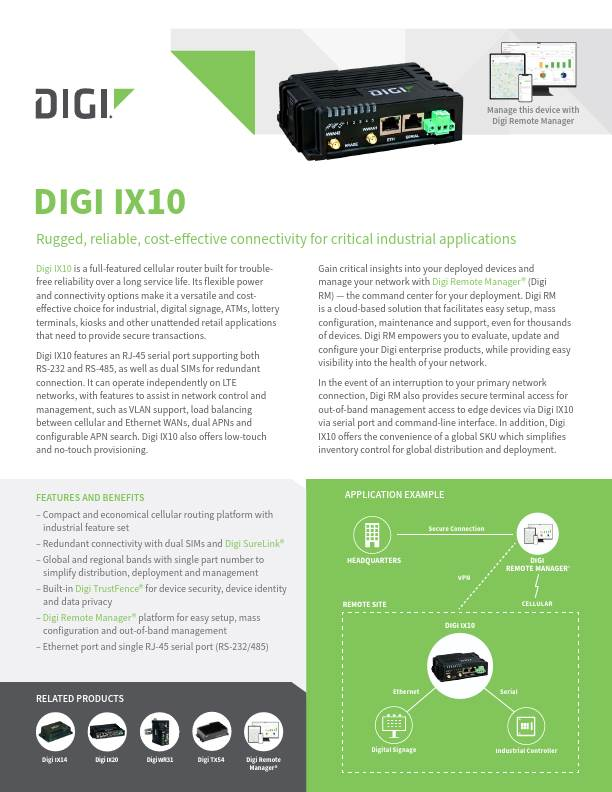 Digi IX10 Datasheet