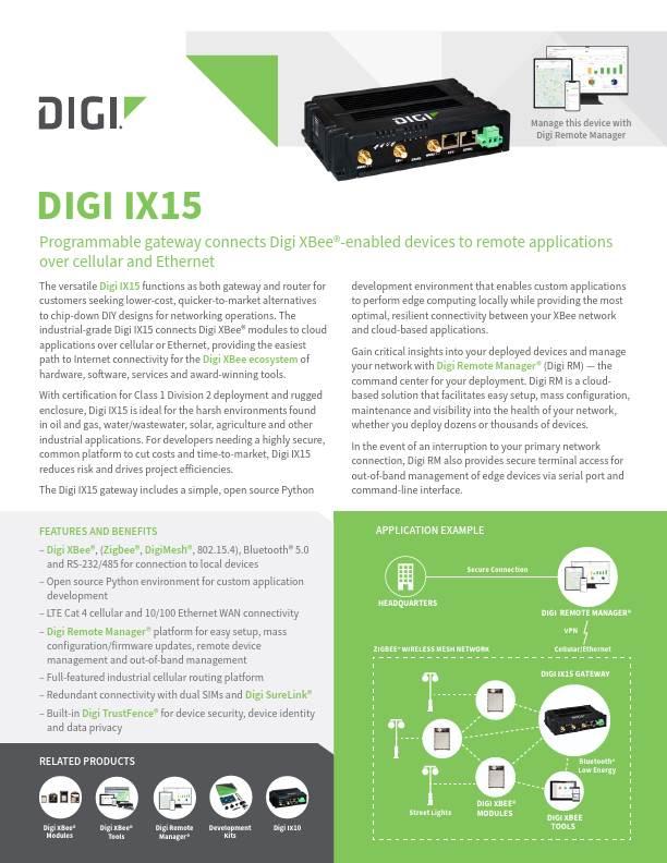 Digi IX15 Datasheet