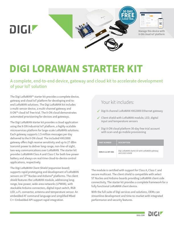 Digi LoRaWAN Starter Kit Preliminary Datasheet