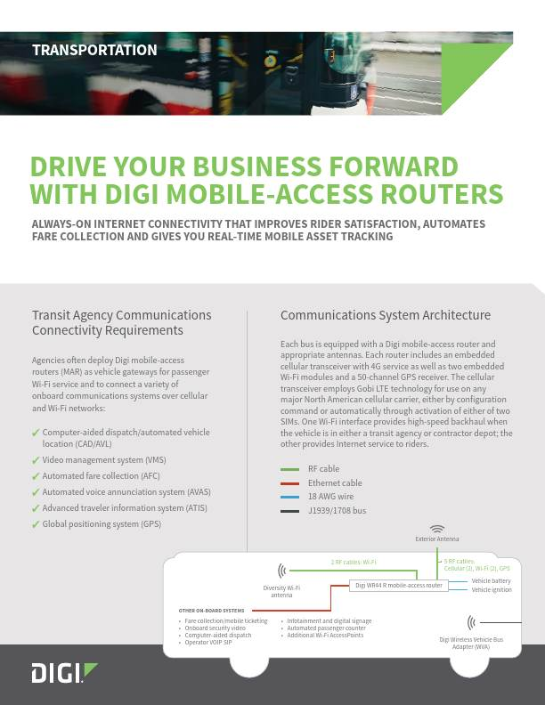 Drive Your Business Forward With Digi Mobile-access Routers