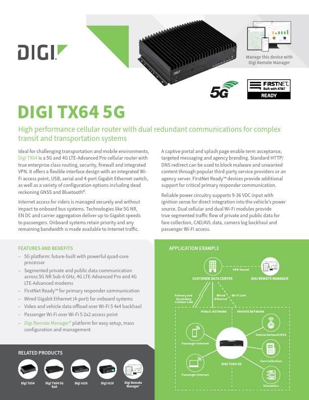 Digi TX64 5G Preliminary Datasheet