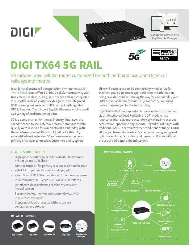 Digi TX64 5G Rail Datasheet