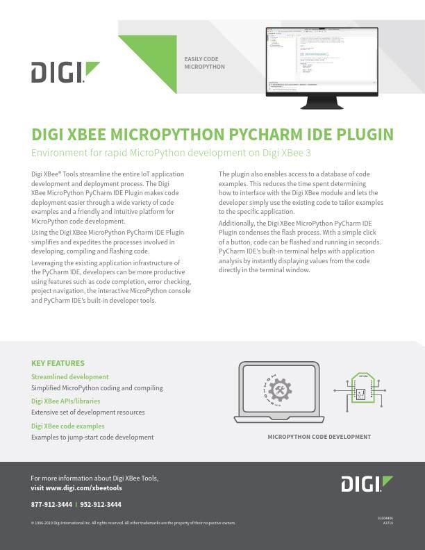 Digi XBee MicroPython PyCharm IDE Plugin Datasheet