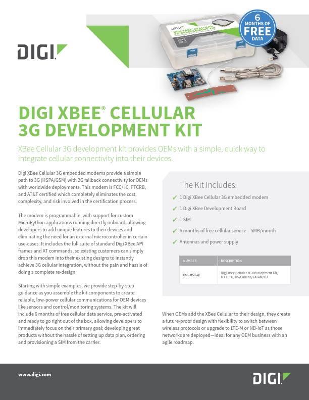Digi XBee Cellular 3G Development Kit Datasheet