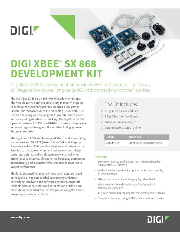 Digi XBee SX 868 Development Kit Datasheet