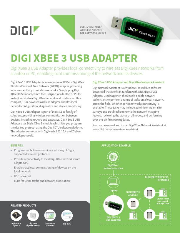 Digi XBee 3 USB Adapter Datasheet