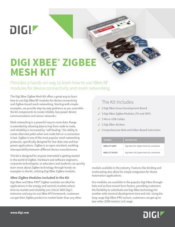 XBee Zigbee Mesh Kit Product Datasheet