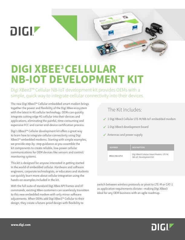 Digi XBee3 Cellular NB-IoT Development Kit Datasheet