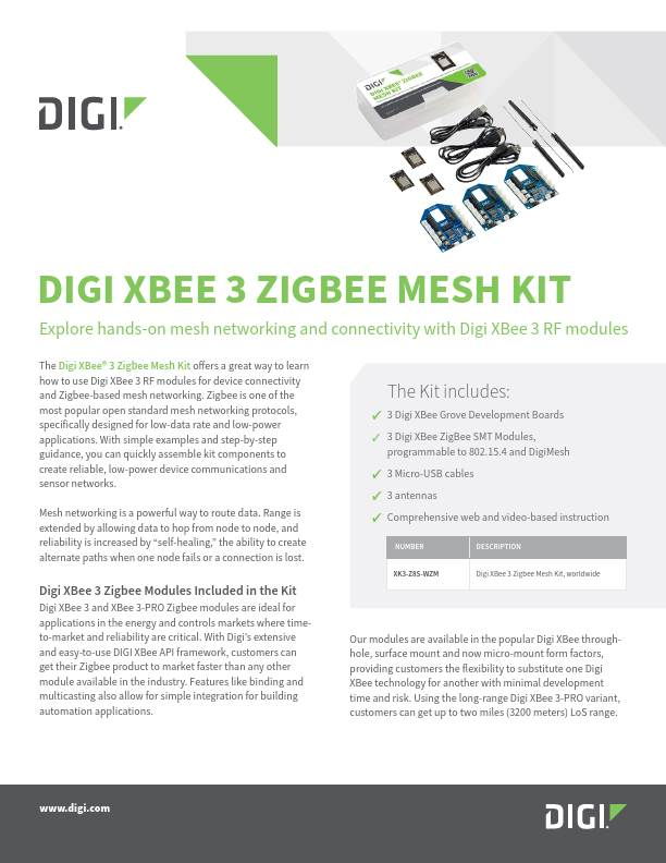 Digi XBee 3 Zigbee Mesh Kit Datasheet
