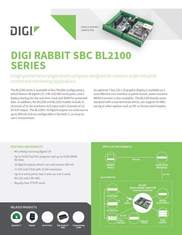 Rabbit SBC BL2100 Series Datasheet