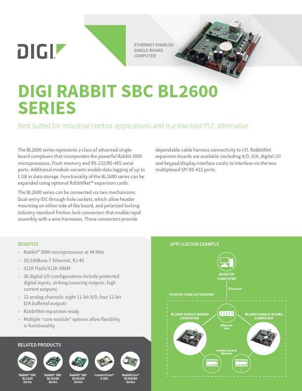 Rabbit SBC BL2600 Series Datasheet