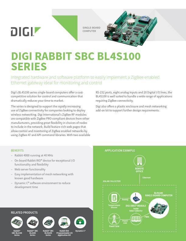 Rabbit SBC BL4S100 Series Datasheet