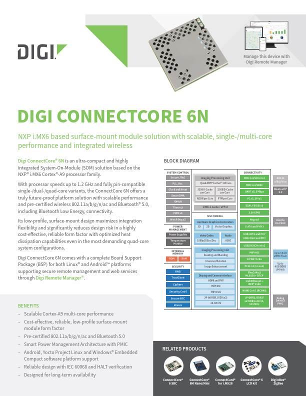 Digi ConnectCore 6 Datasheet