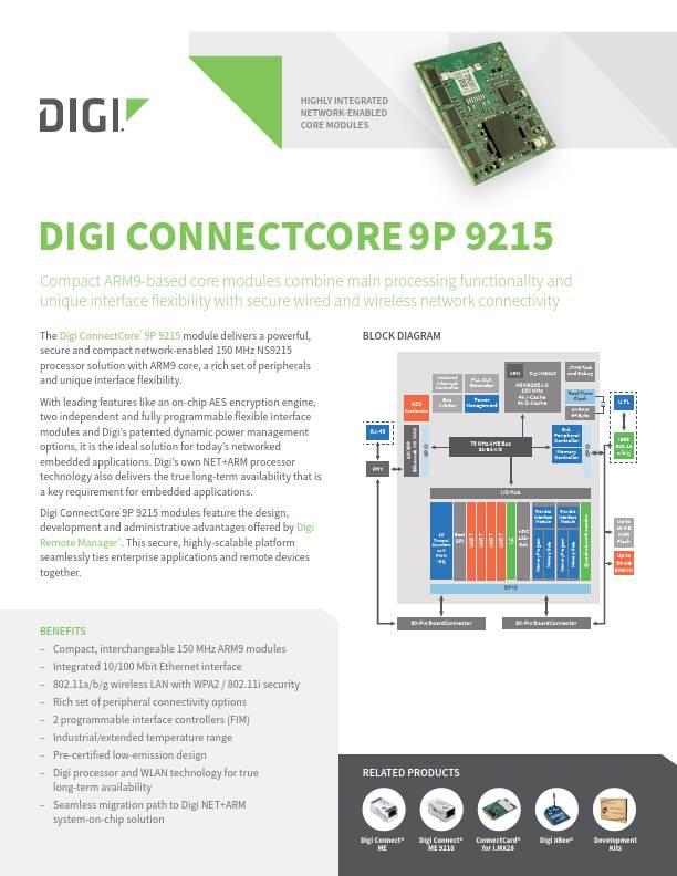 Digi ConnectCore 9P 9215 datasheet