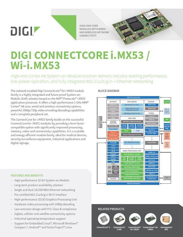 Digi ConnectCore i.MX53 / Wi-i.MX53 Datasheet