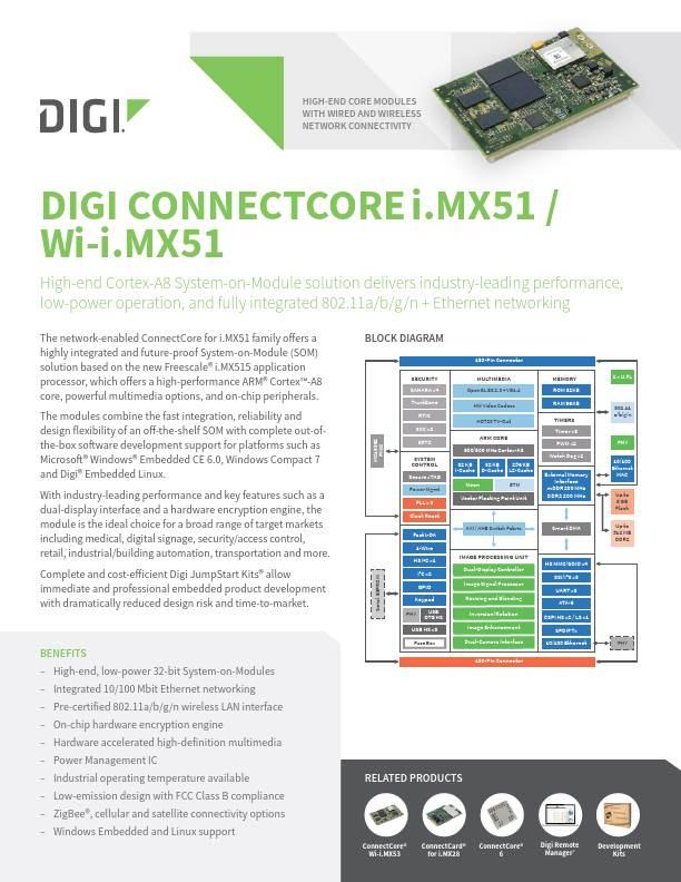 Digi ConnectCore i.MX51 datasheet