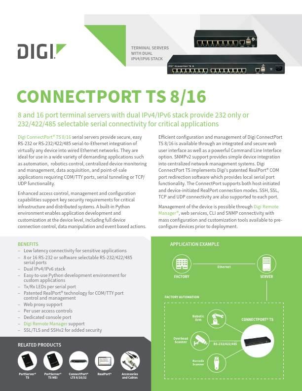 ConnectPort TS 8/16 Datasheet