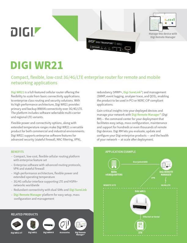 Digi TransPort WR21 Datasheet