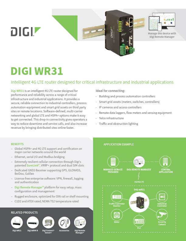 Digi TransPort WR31 Datasheet
