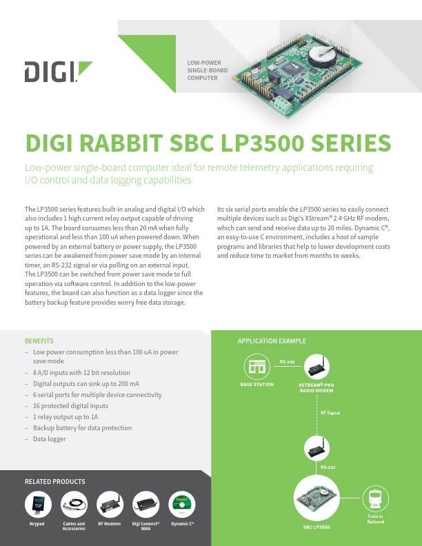 Rabbit SBC LP3500 Series Datasheet