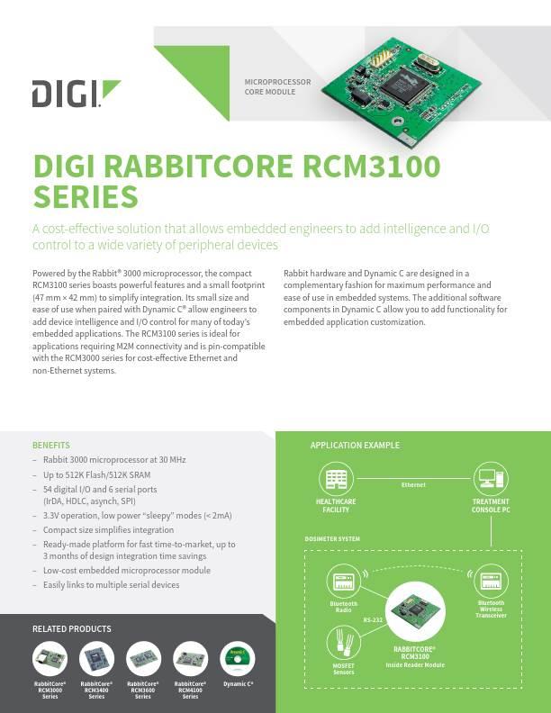 RabbitCore RCM3100 Series Datasheet cover page