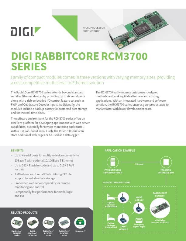 RabbitCore RCM3700 Series Datasheet
