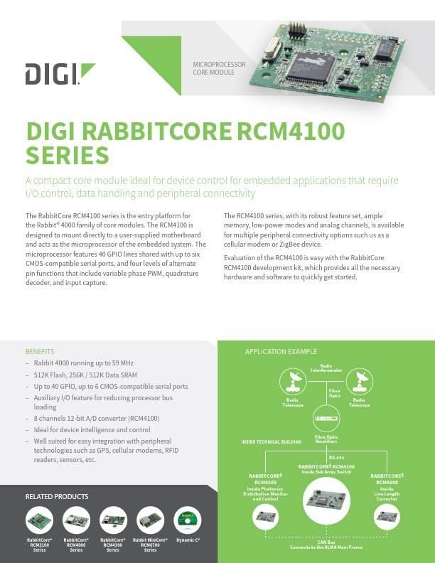 RabbitCore RCM4100 Series Datasheet