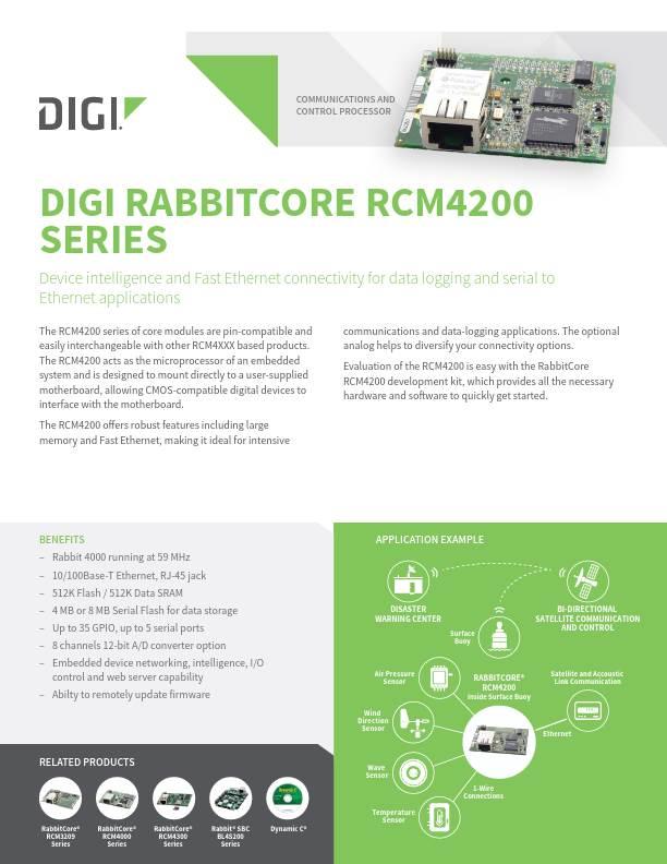 RabbitCore RCM4200 Series Datasheet