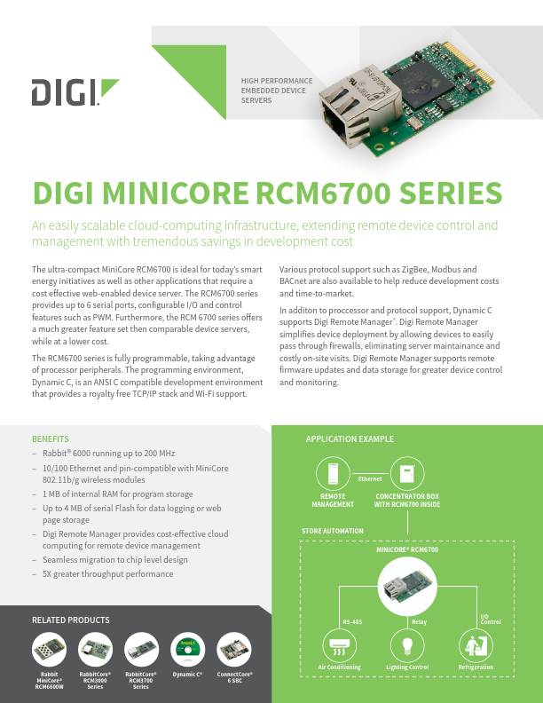 RabbitCore RCM6700 Series Datasheet