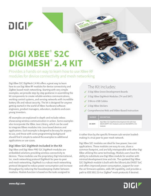Digi XBee® S2C  DigiMesh® 2.4 Kit Datasheet