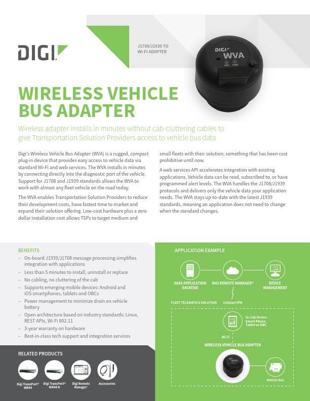 Wireless Vehicle Bus Adapter (WVA) Datasheet