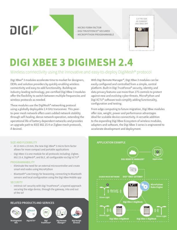 Digi XBee 3 DigiMesh 2.4 Datasheet