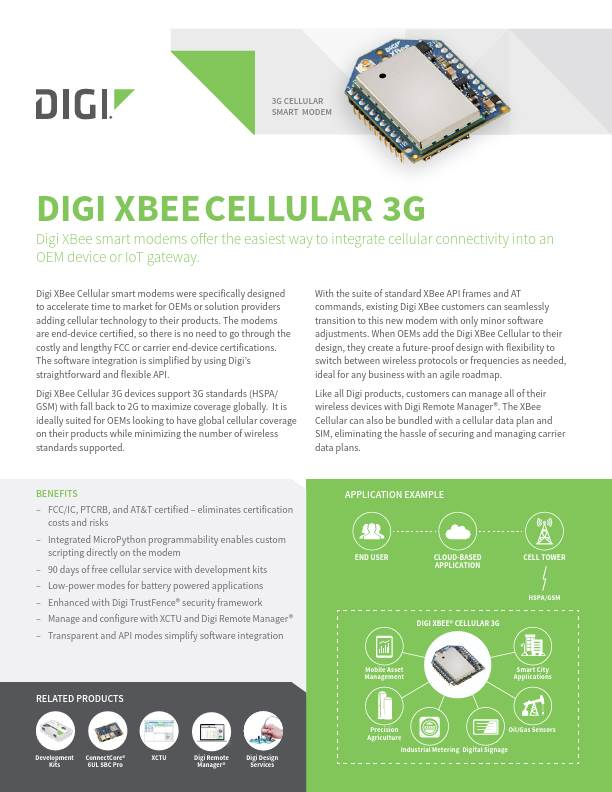 Digi XBee Cellular 3G Datasheet