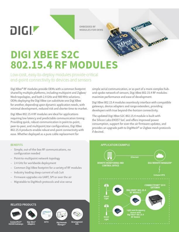 Digi XBee S2C 802.15.4 RF Modules Datasheet