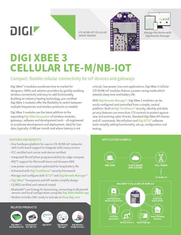 Digi XBee 3 Cellular LTE-M/NB-IoT Datasheet